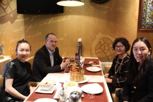 "with P. Munkhtuya, T. Suvdmaa, and B. Ganchimeg at ""Kozy Nomads"""